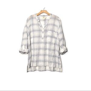 Women's White and Blue Plaid Roll Cuff Top